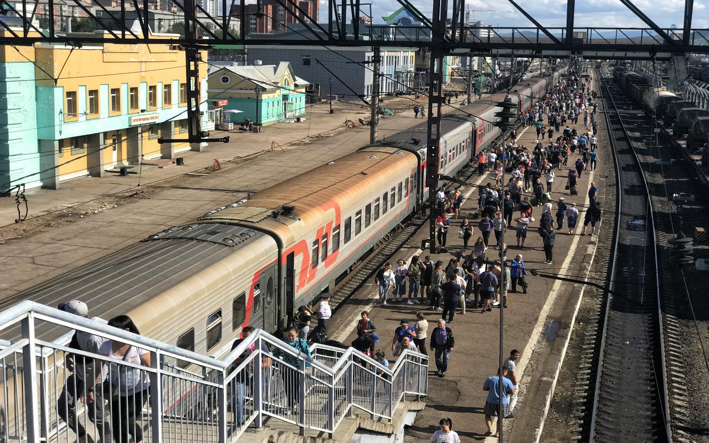 Russischer Bahnhof bei Zugankunft