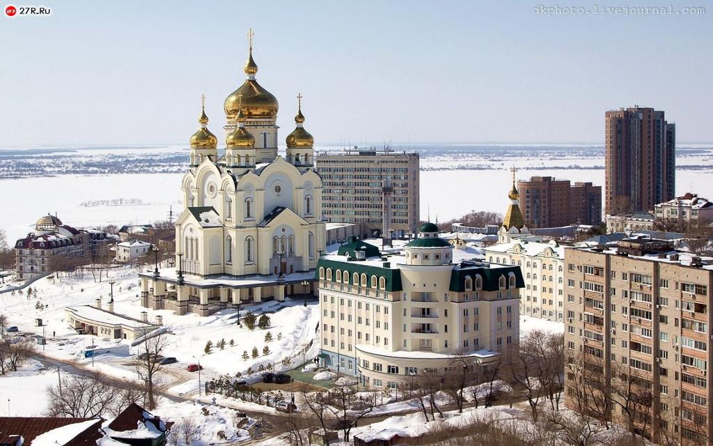 Chabarowsk im Winter - Blick auf die Erlöser-Verklärungs-Kathedrale